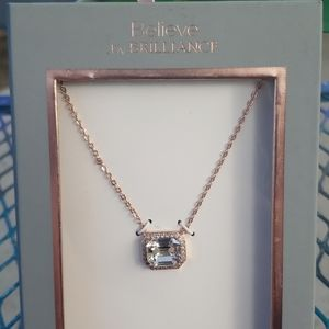 14KT Gold Flash Square Crystal Rose Gold Necklace